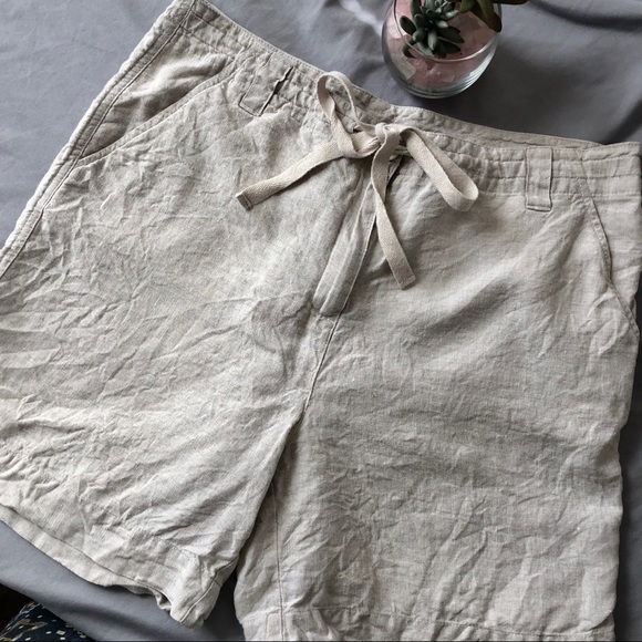 Talbots Pants - Talbots 100% Irish Linen Front Tie Shorts 8 Tan
